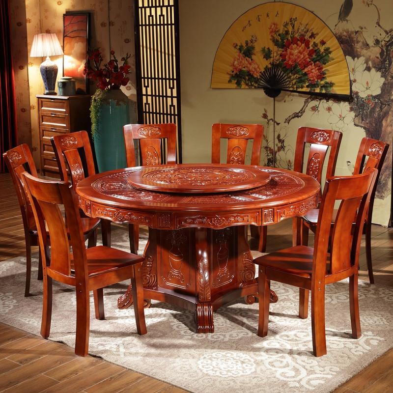 全实木中式圆形餐桌椅组合饭桌红木色大圆桌十人橡木古典仿古餐桌