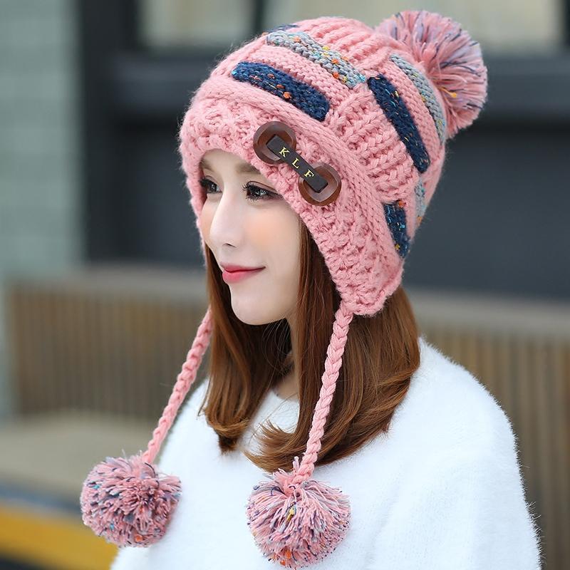 新款韩版潮帽子女冬甜美可爱女生毛线帽保暖加厚冬帽套头针织帽防风帽