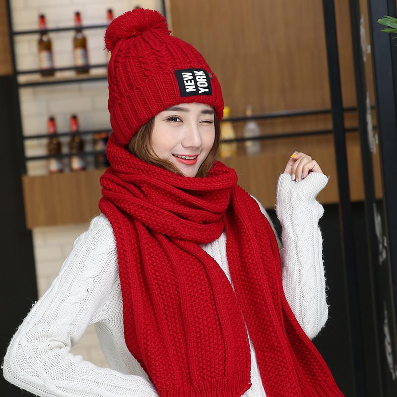 冬季加绒加厚毛线帽子围巾两件套装女韩版潮时尚百搭针织帽女冬天