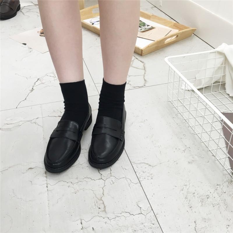 英伦风女鞋黑色小皮鞋女生春秋潮百搭韩版学院风原宿软妹圆头单鞋