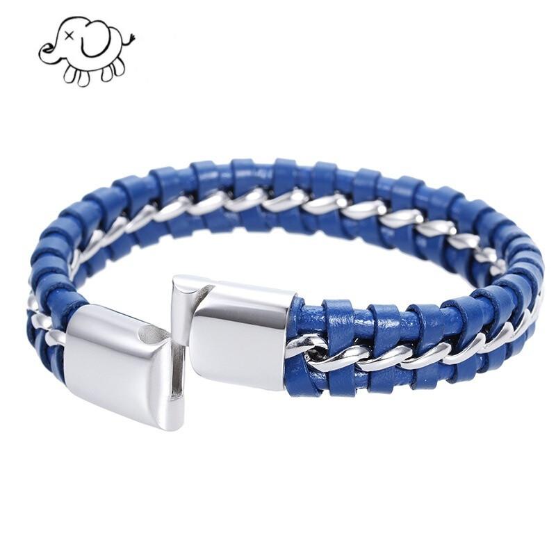 nvwu 手链 创意男款编制绳皮质手链钛钢男士韩版编织饰品 蓝色
