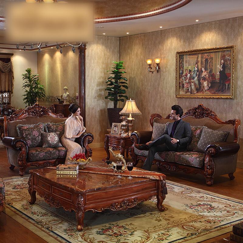 欧式实木雕花布艺沙发新古典美式可拆洗沙发客厅组合沙发图片