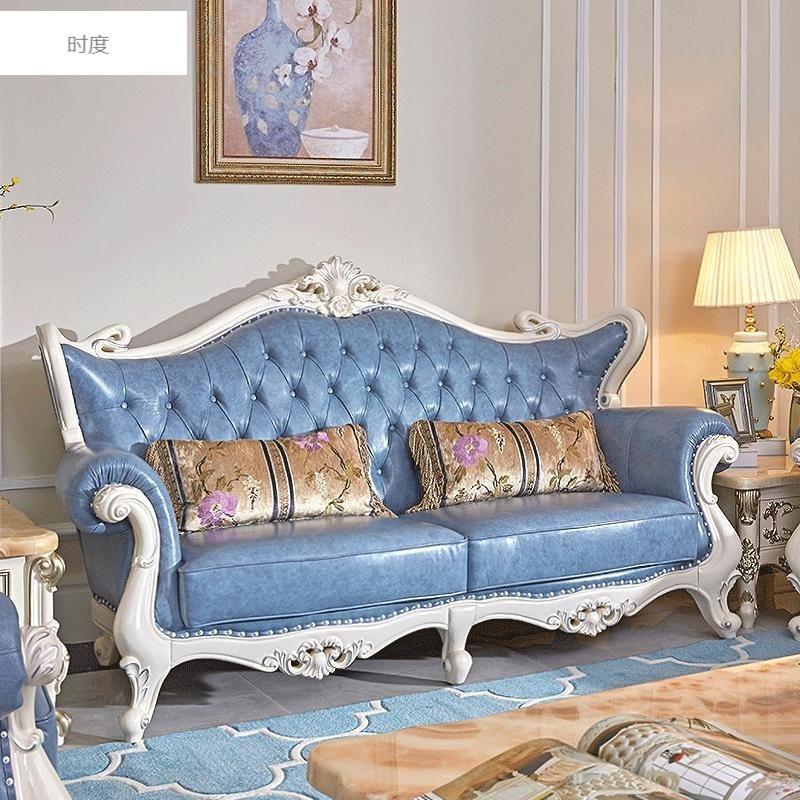 时度欧式真皮沙发古典头层牛皮123别墅客厅组合法式实木皮艺沙发1 贵
