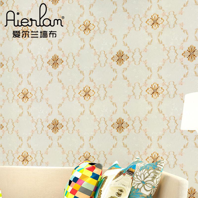 立体刺绣壁布沙发床头电视背景墙布简欧绣花中式无纺布底无缝墙布