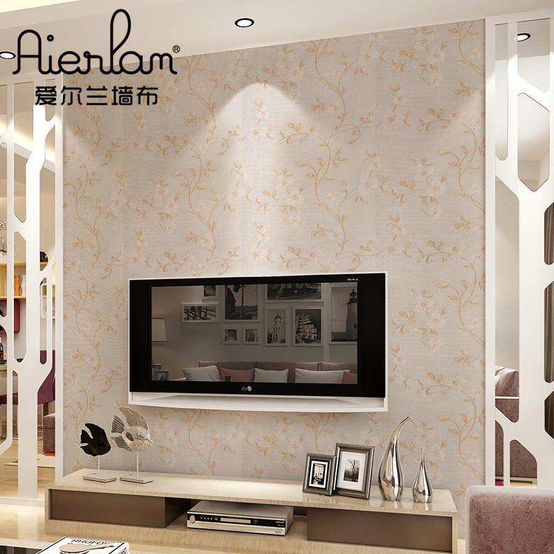 爱尔兰田园无缝墙布新中式现代浮雕花枝客厅卧室床头背景墙壁布