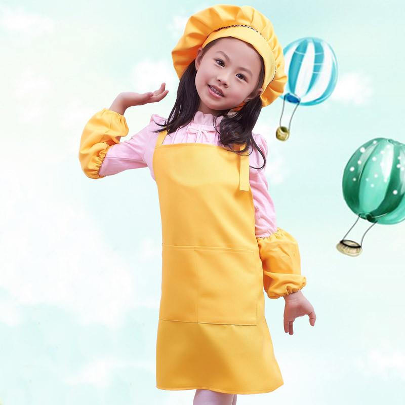 宝宝幼儿园亲子围裙可爱儿童画画小围裙 帽子 袖套套装定制图片