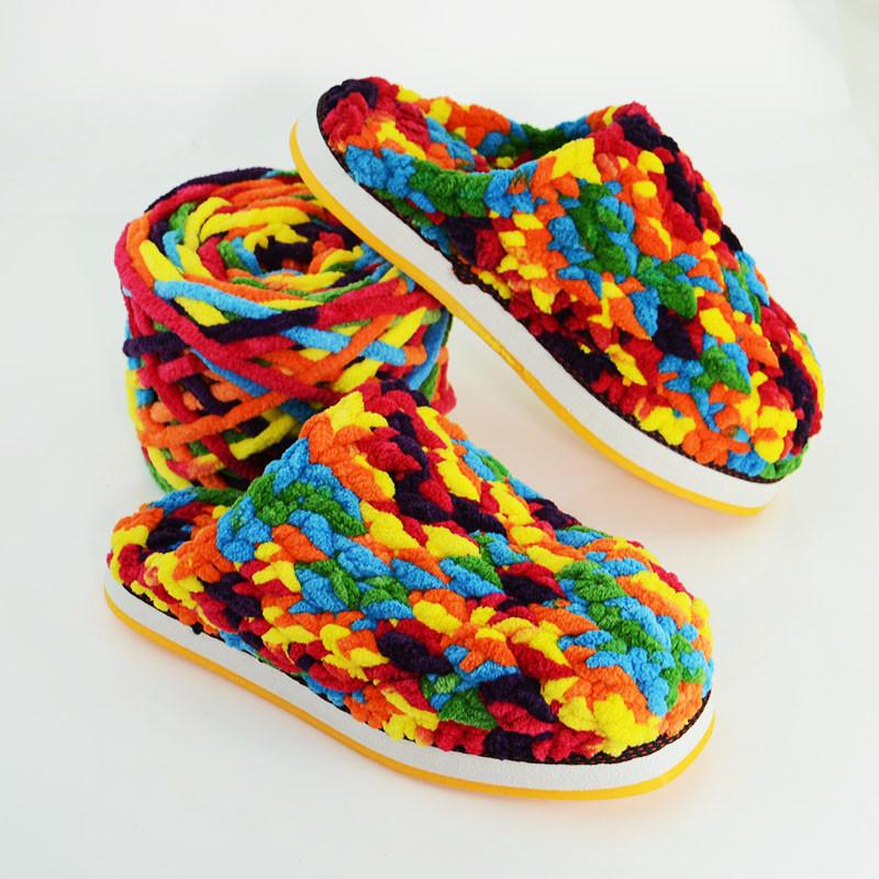 手工编织粗毛线冰条线婴儿宝宝线织围巾线勾鞋子送钩拖鞋教程