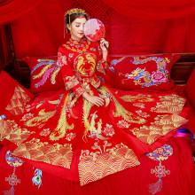 婚纱礼服新娘敬酒服凤冠霞帔结婚古装中式嫁衣冬加厚秀禾服龙凤褂