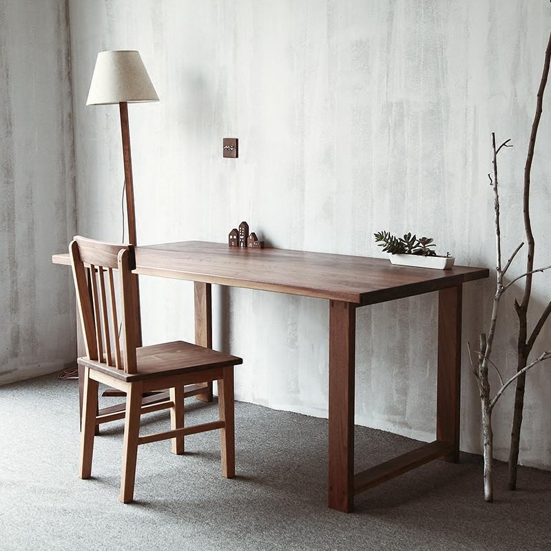 爵尼 餐桌 原木 简约 工作台黑胡桃实木书桌 设计桌