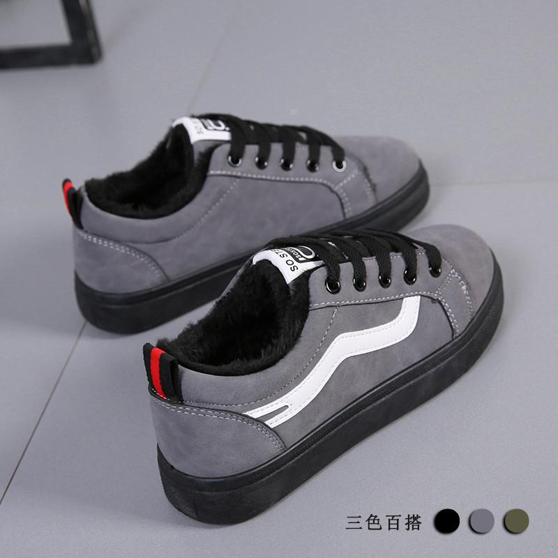 冬季新款保暖棉鞋女韩版加绒加厚板鞋百搭学生超火帆布鞋二棉黑色