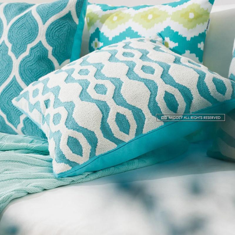 纯棉麻刺绣 新中式花纹靠垫抱枕美式风格抱枕 办公室靠背枕