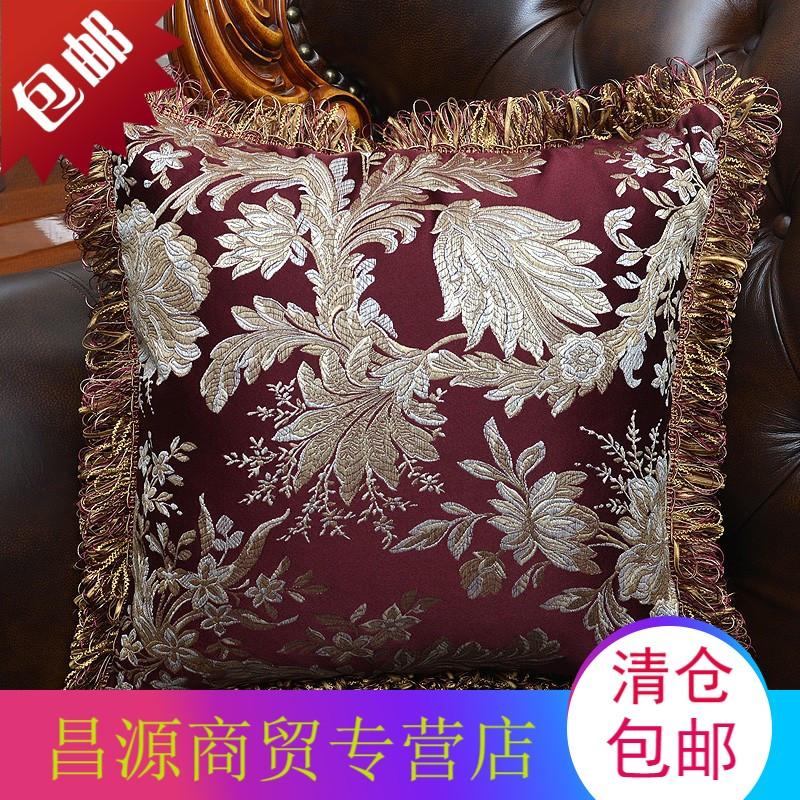 沙发靠垫抱枕套汽车靠垫腰枕靠枕办公室抱枕欧式贡缎提花高端面料
