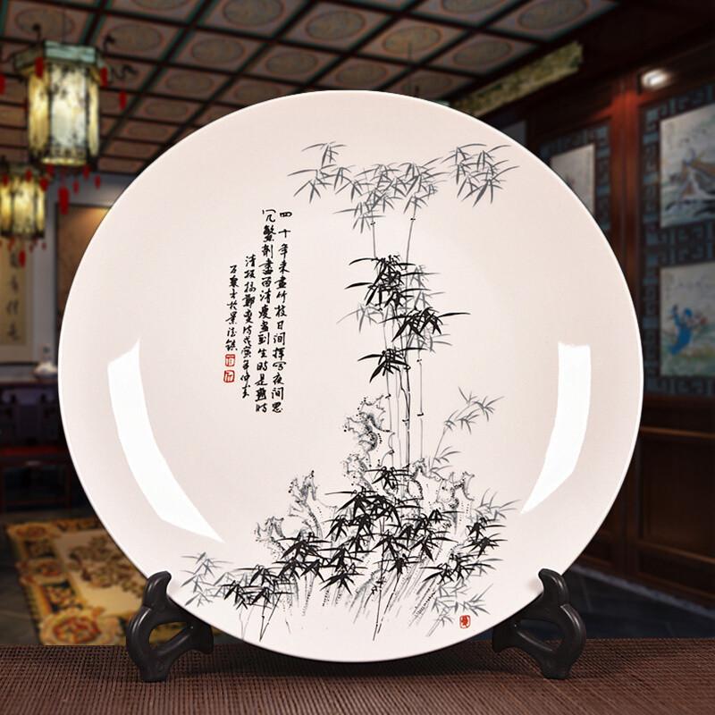 骁熊景德镇陶瓷装饰盘子摆件家居艺术品摆件酒柜看盘座盘工艺品摆设图片