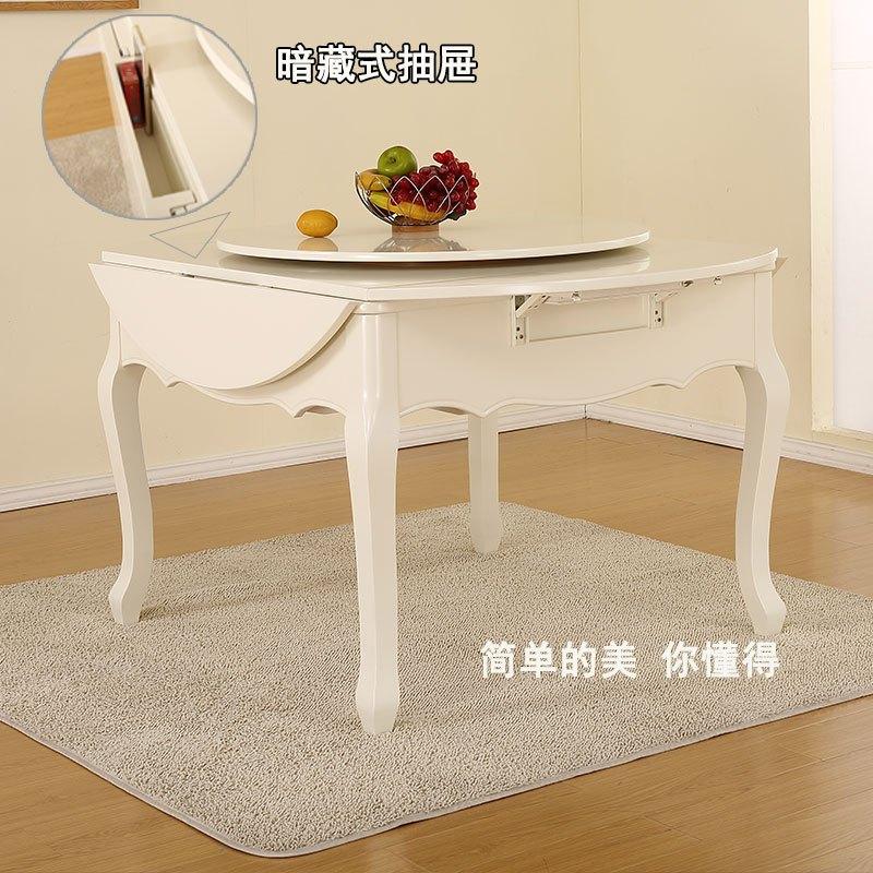 电动实木折叠圆餐桌 图片合集图片