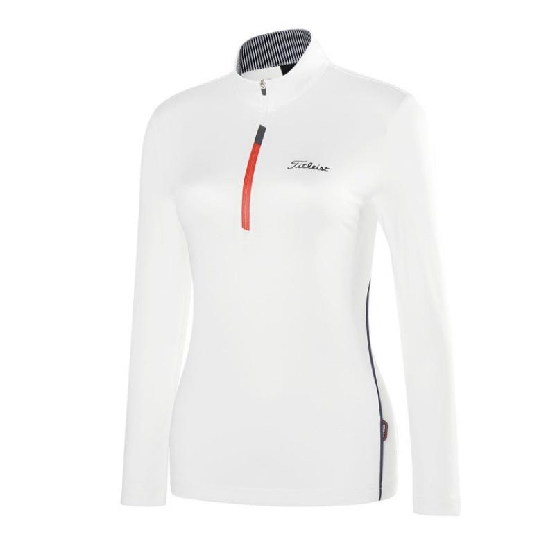 秋冬高尔夫服装女士长袖t恤 拉链3d修身球衣韩款弹力女装上衣