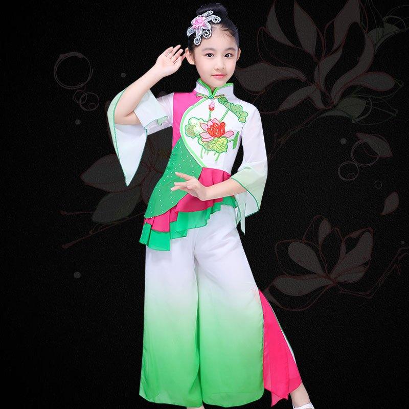 新款儿童古典舞蹈演出服女孩伞舞扇子舞表演服装民族舞蹈秧歌服