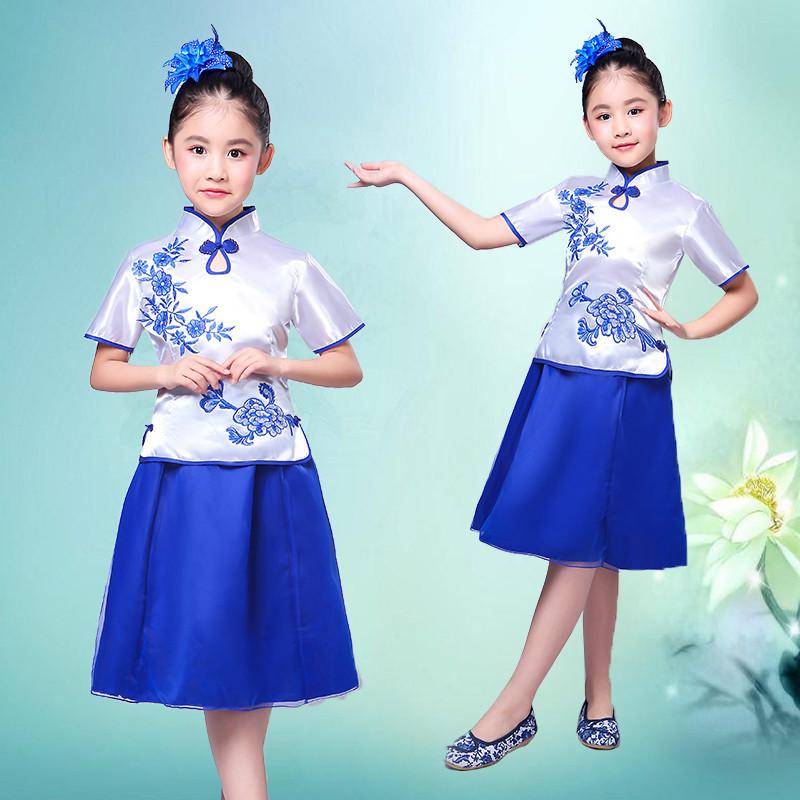 女童古筝演出服民国风儿童表演服合唱服青花瓷舞蹈服装古典民族服图片图片