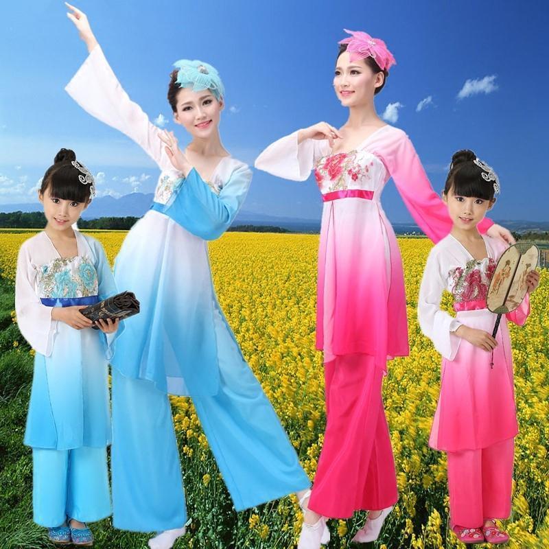 新款古典舞蹈服扇子舞伞舞儿童表演服秧歌演出服江南舞蹈表演服装