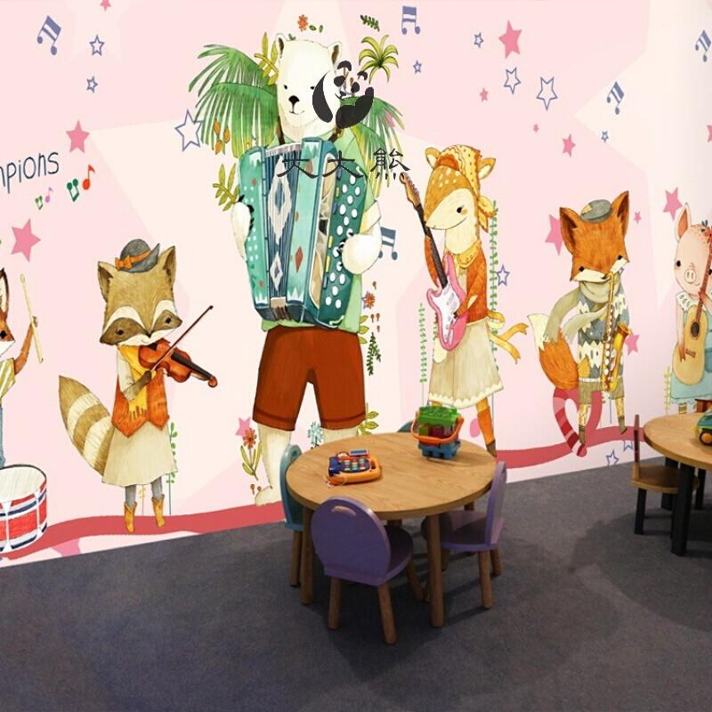 舞蹈室餐厅儿童房卧室幼儿园学校音乐钢琴小提琴教室音符大型壁画无缝