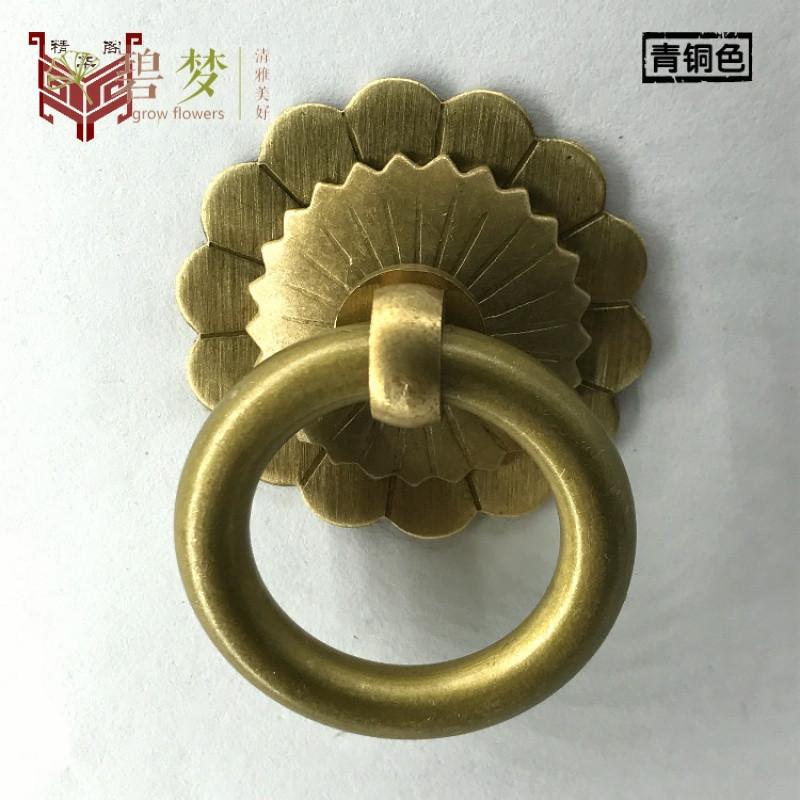 中式仿古纯铜拉环家具柜门圆环扣手简约铜环抽屉中药柜拉手小把手