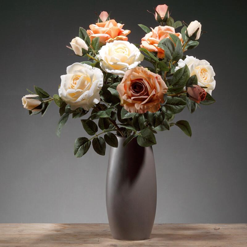 防真花塑料花卧室电视柜客厅摆设北欧简约花瓶三件套风情玫瑰3秋白3咖图片