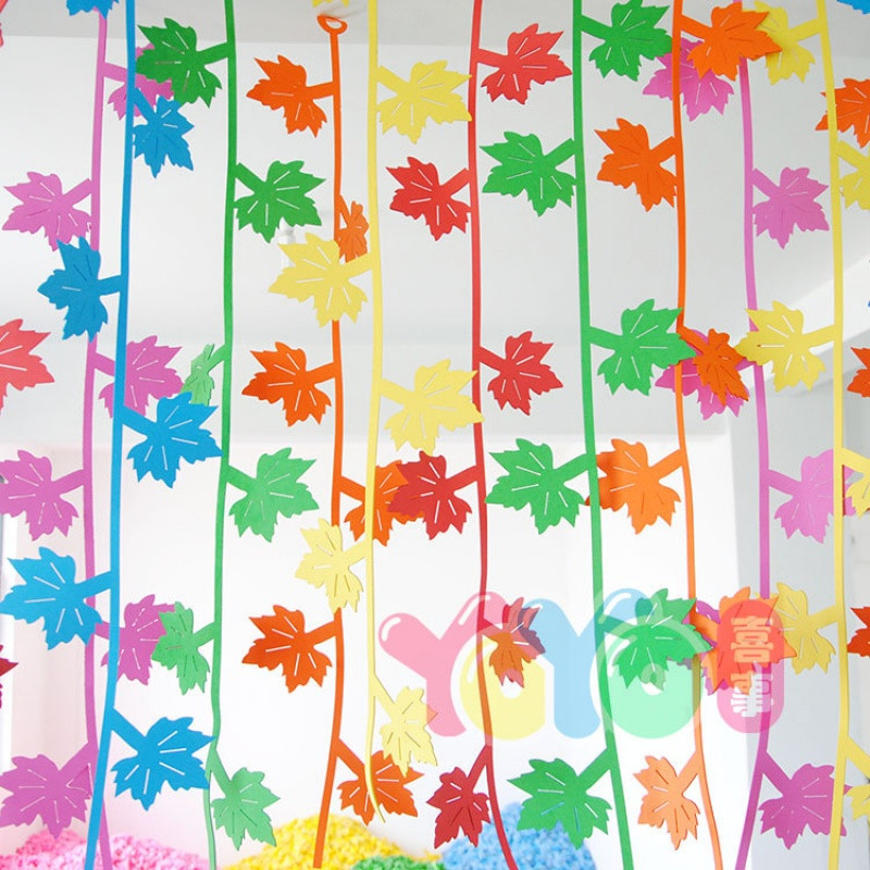 幼儿园墙面装饰泡沫材料教室走廊空中吊饰挂饰柳条创意布置