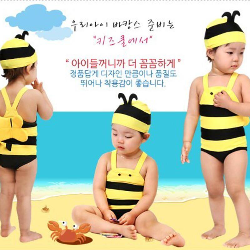韩国儿童泳衣0-1-2-3-4岁男女童连体泳衣可爱小婴儿宝宝泳装