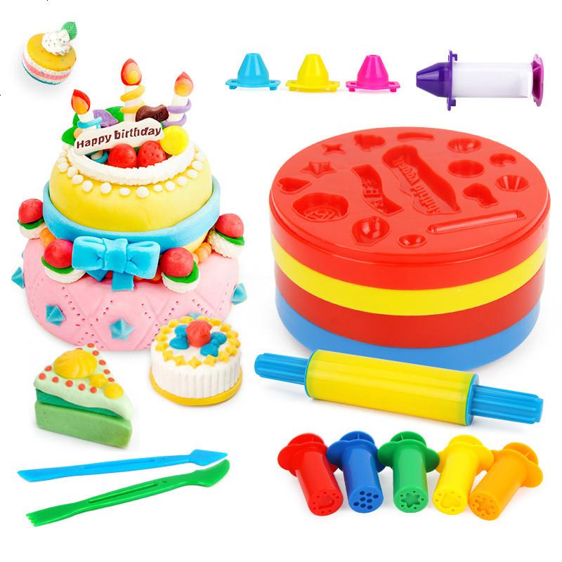 创意彩泥套装12色橡皮泥工具雪糕机蛋糕模具儿童手工粘土玩具