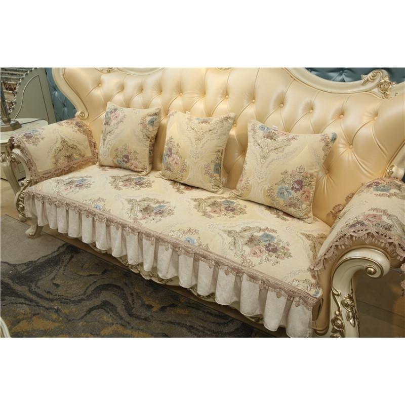 欧式沙发垫冬季防滑 毛绒 简约现代 通用米蓝色沙发套图片