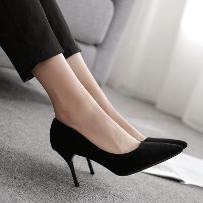 qmnz新款黑色絨面高跟鞋尖頭細跟中跟OL職業工作面試女單鞋cmcm-定制