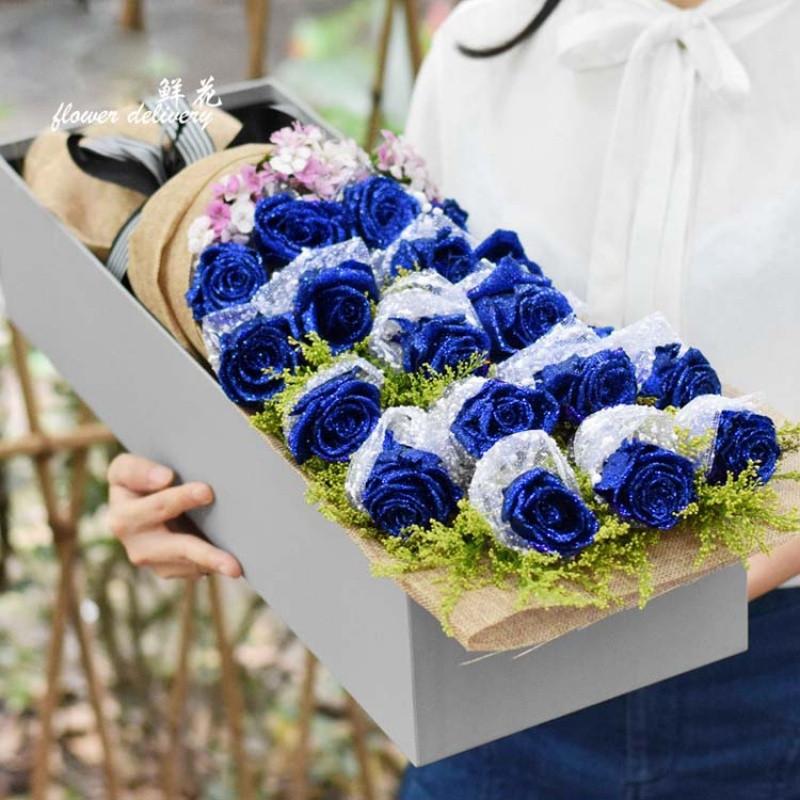 鲜花包装材料仿真蓝色玫瑰花鲜花花束包装50朵蓝色妖姬玫瑰