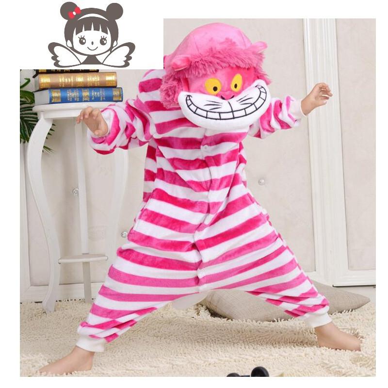 儿童柴郡猫卡通动物连体睡衣男女亲子表演出小孩家居服套装法兰绒