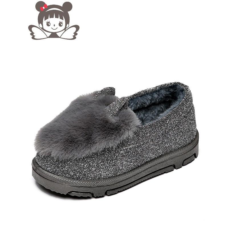 儿童棉鞋冬季可爱兔子包跟防滑家宝宝拖鞋冬男女童豆豆鞋