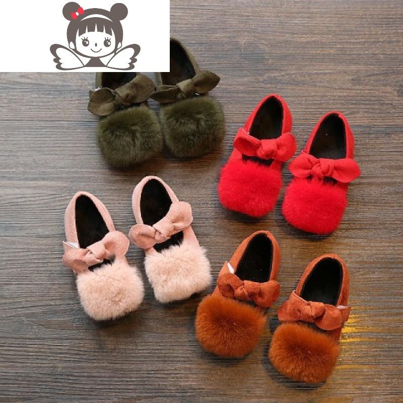 女童2017冬款加绒保暖豆豆鞋1-6岁儿童4可爱宝宝兔毛毛公主秋棉鞋
