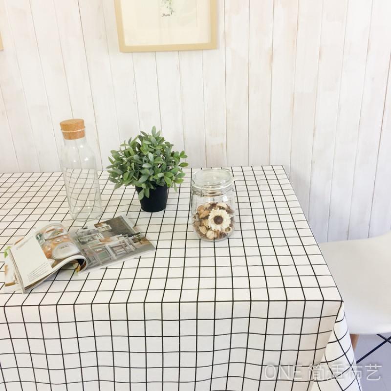 北欧文艺棉麻桌布布艺简约黑白格子餐桌布茶几垫条纹书桌台布桌垫