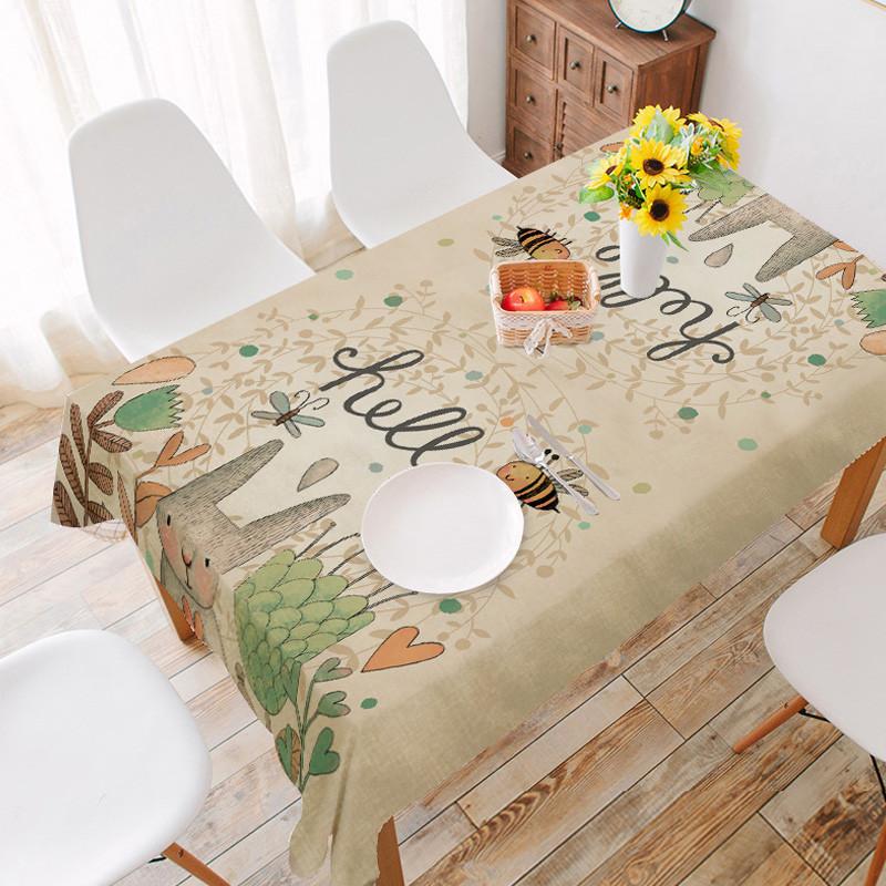 可爱兔子棉麻餐桌布正方形长方形桌布装饰布欧式桌布创意礼品餐布
