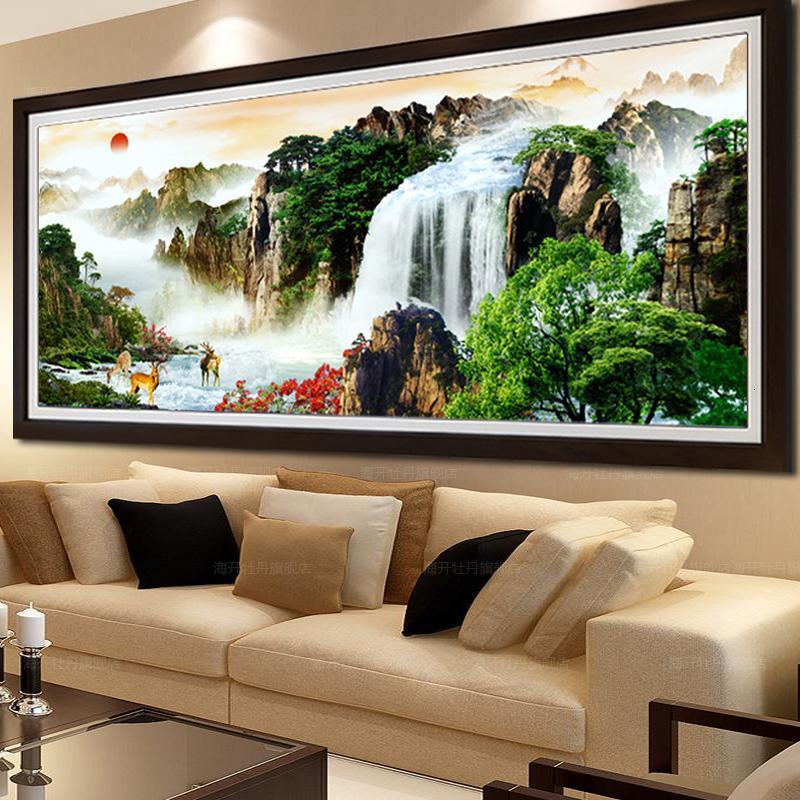 印花十字繡旭日東升2米 流水生財十字繡山水畫風景圖客廳系列