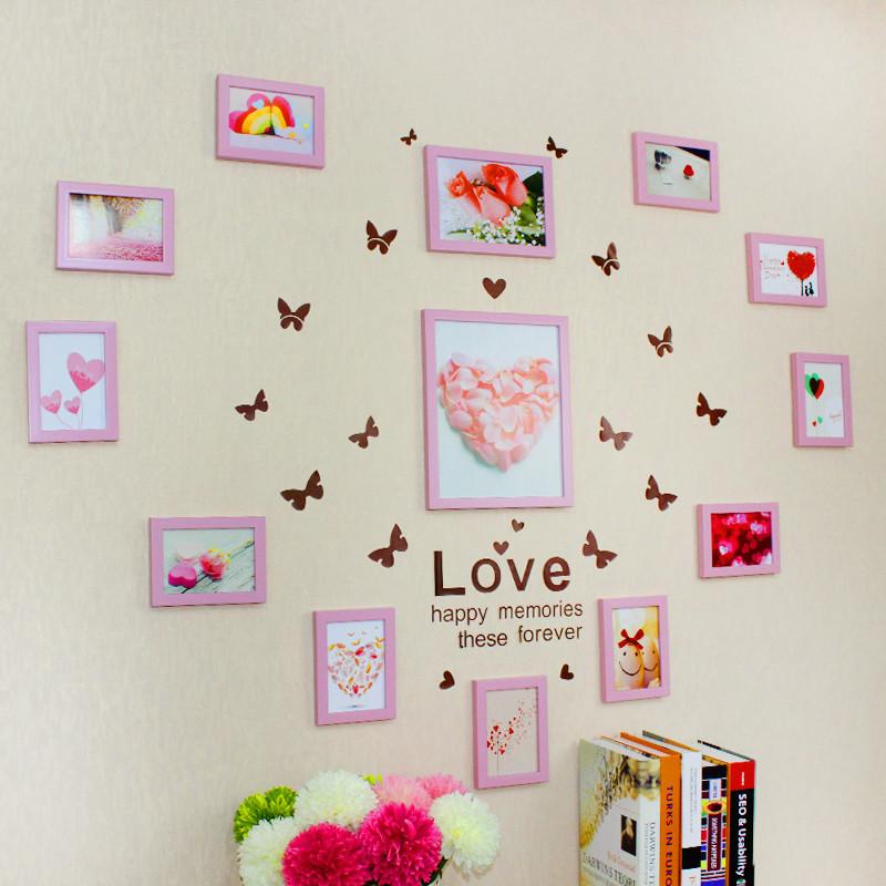 心形照片墙贴纸组合悬挂相框墙婚房装饰 卧室相片墙创意结婚礼物
