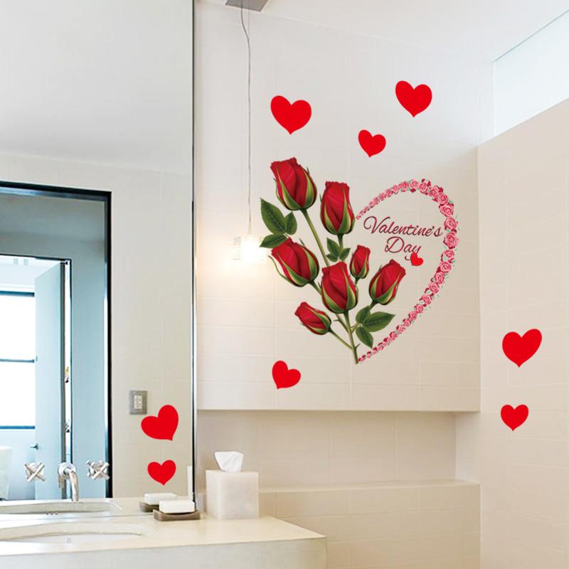 玫瑰花贴纸墙贴卧室温馨床头墙上贴画客厅房间墙壁装饰背景墙贴纸