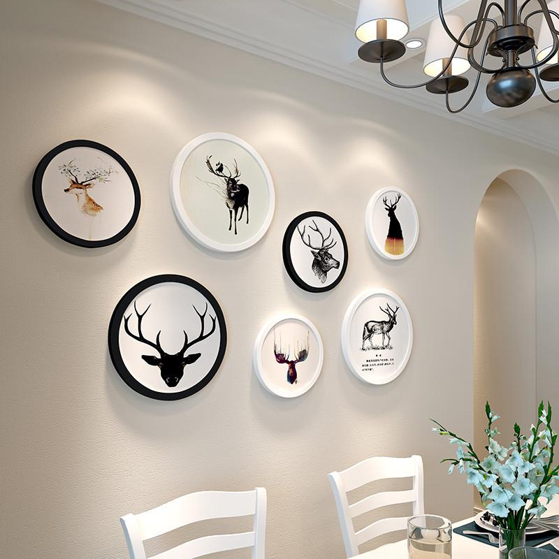 北欧餐厅墙面装饰品饭店欧式简约现代墙上家居立体麋鹿头壁挂壁饰图片