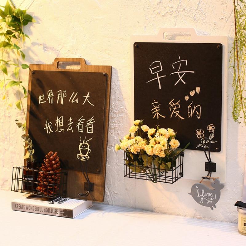 简约北欧餐厅墙面装饰复古留言黑板置物篮门口钥匙架壁挂壁饰