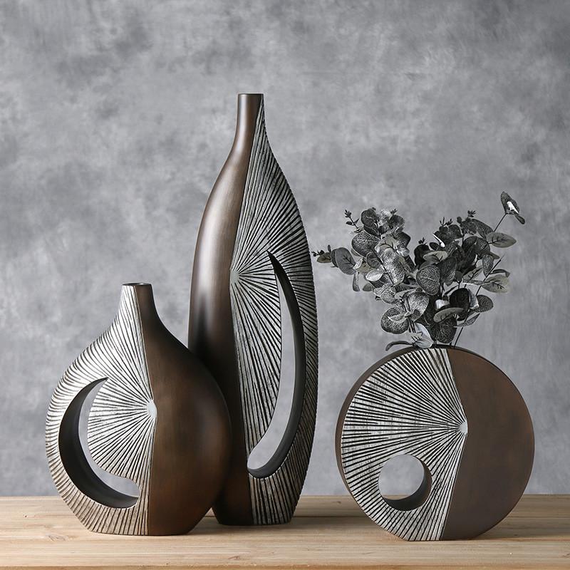 插花树脂北欧风工艺银色干花艺术花瓶装饰品欧式家居饰品客厅摆件图片