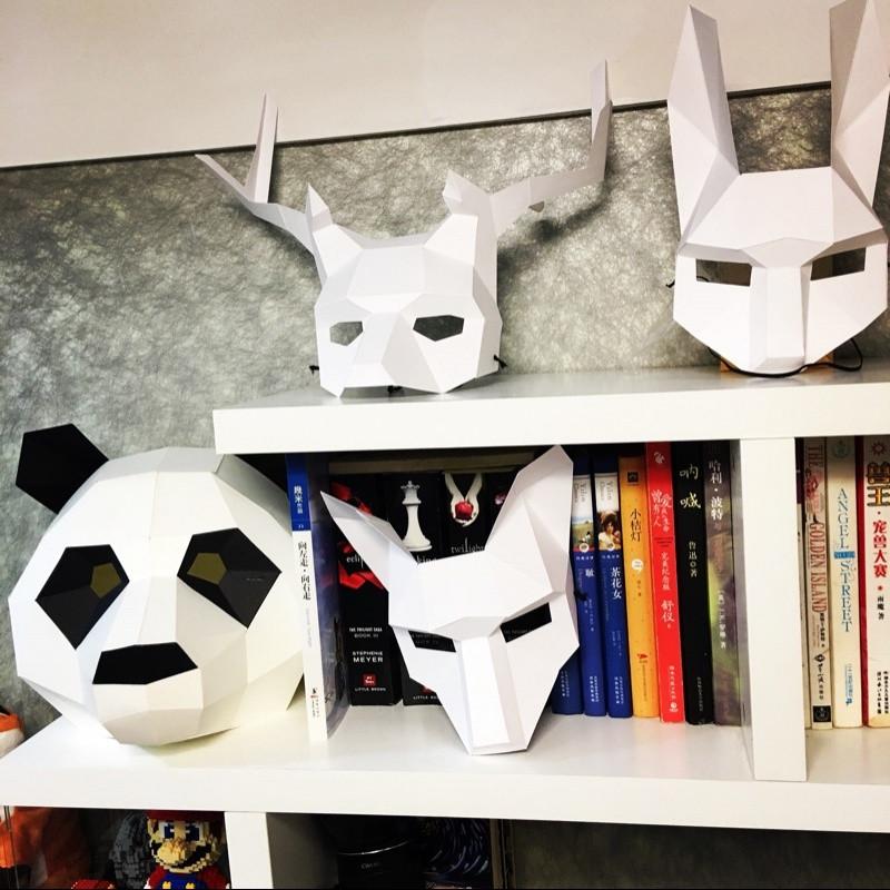 创意动物鹿角狐狸兔子diy纸模道具化妆舞会假面派对半
