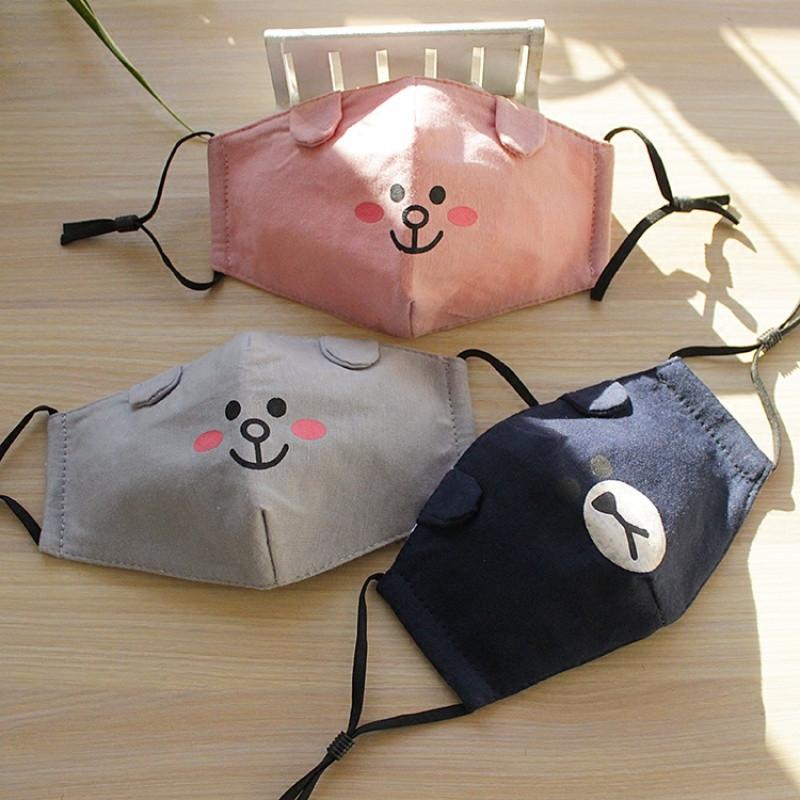 冬季保暖防寒儿童口罩卡通可爱全棉布透气宝宝小熊立体易呼吸面罩