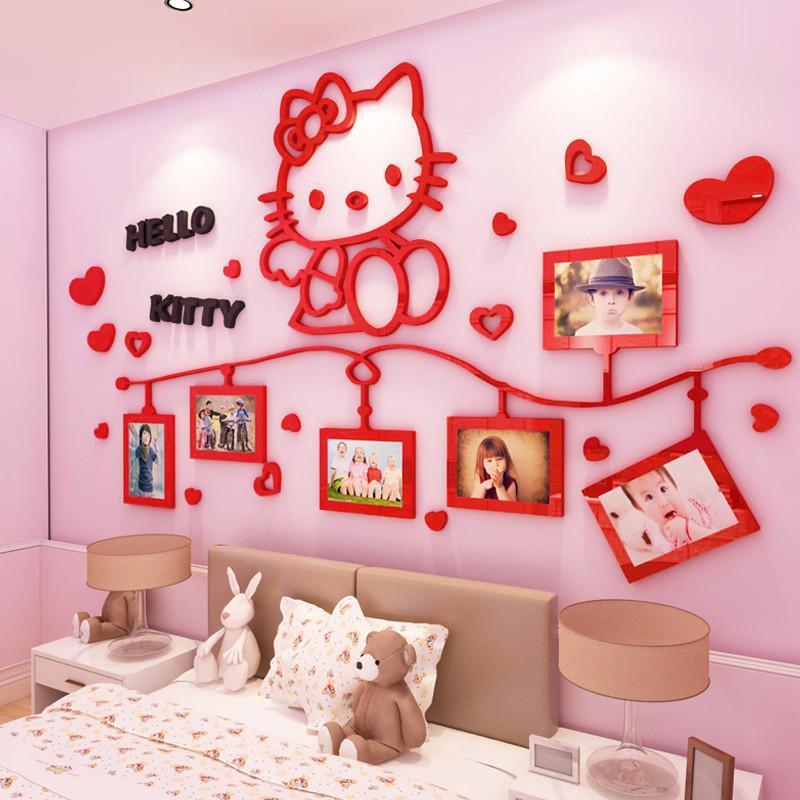 hellokitty猫照片墙3d立体墙贴画儿童房布置女孩卧室装饰