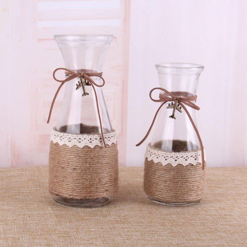田园风格 手工麻绳花瓶 创意玻璃装饰瓶 满天星花瓶 干花插花花器