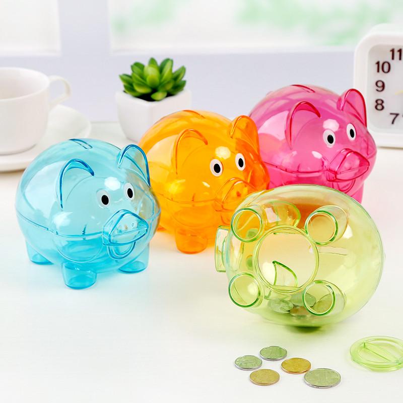 糖果色可爱小猪透明塑料儿童小号储蓄罐创意卡通硬币储钱罐存钱罐
