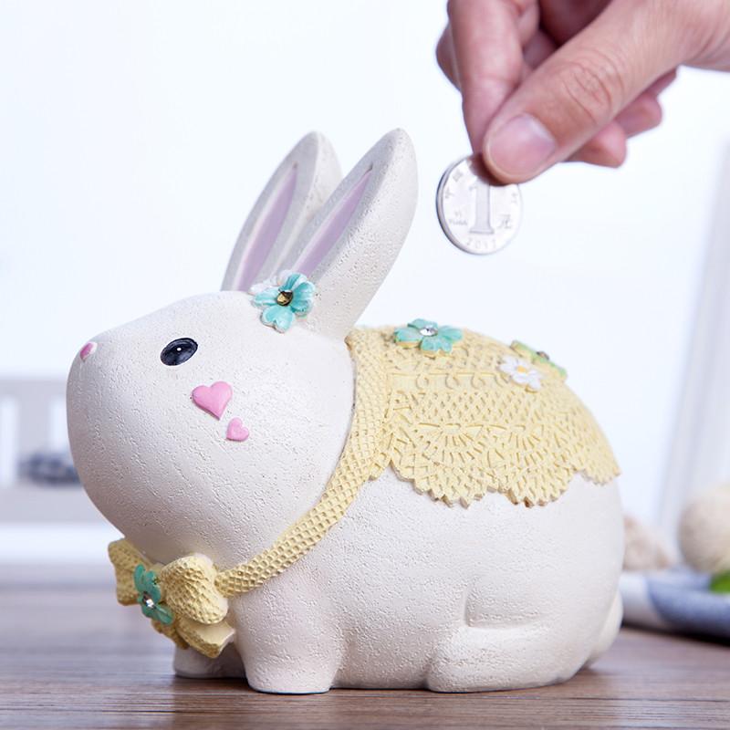 创意储蓄罐可爱兔子存钱罐时尚节日礼物卡通儿童钱罐桌面摆件