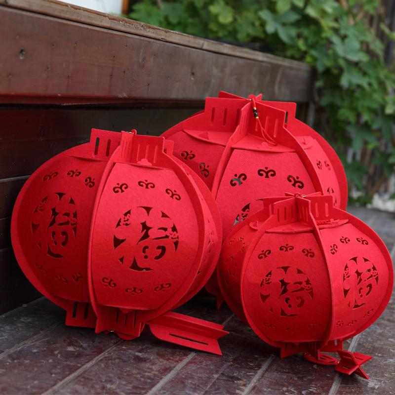 毛毡布福字圆形灯笼新年装饰户外红灯笼春节过年商场装饰布置灯笼