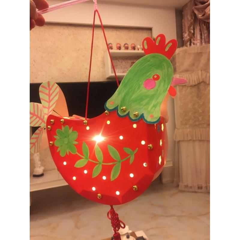 新年灯笼制作diy手工材料包儿童幼儿园涂色手提花灯彩纸灯笼挂饰